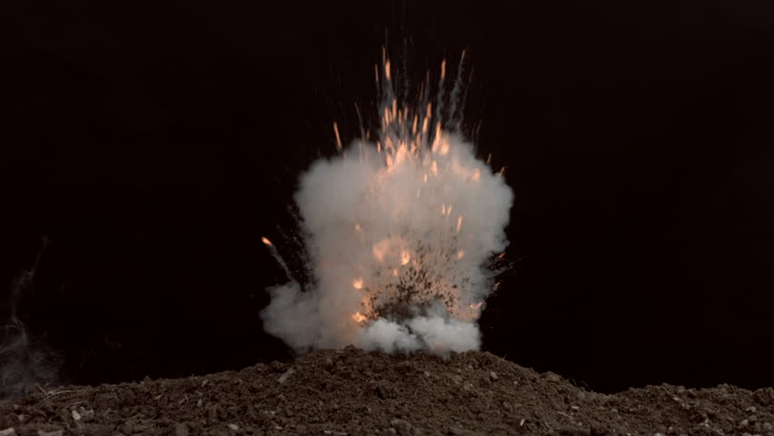 Fireball exploding out of dirt, slow motion