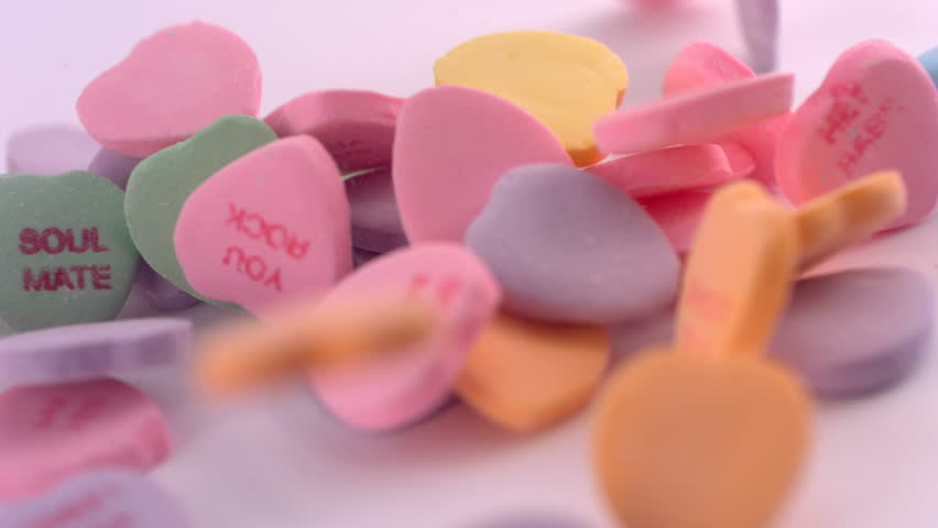 Valentine's Day candy, slow motion