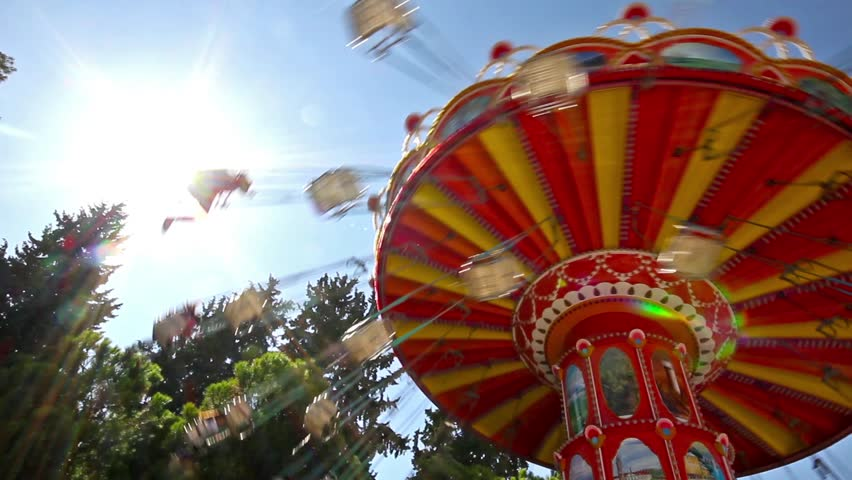 Flying with Merry-go-round over the trees.