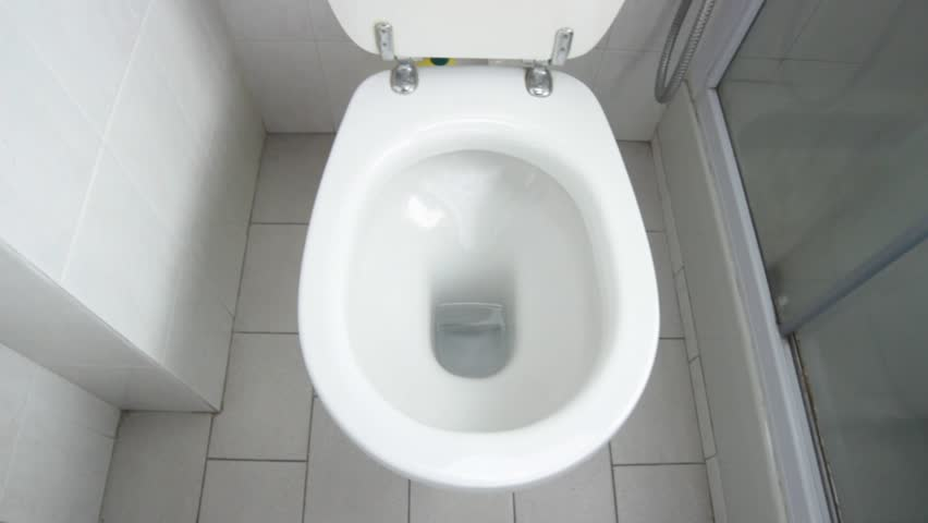 Flush clean wc, water splash in toilet.