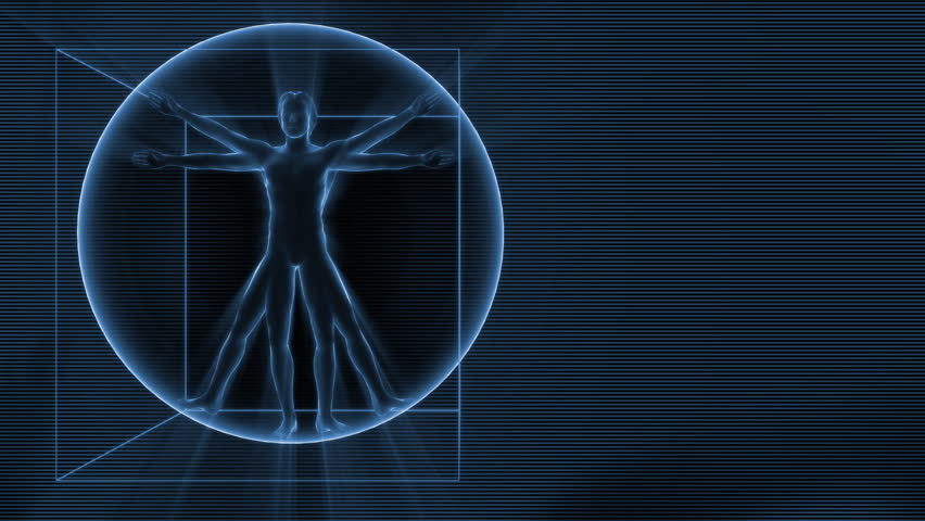 3d rotating Da Vinci man on the background with science symbols. Seamless loop.