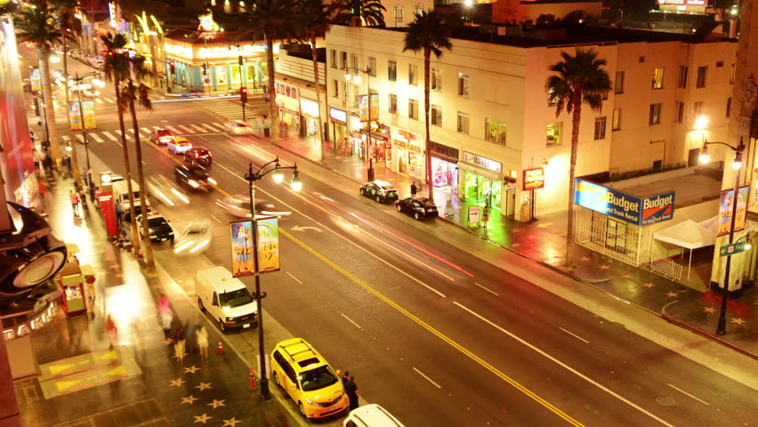 Hollywood Timelapse 03 Loop Night Cityscape Hollywood Blvd - HD stock footage clip