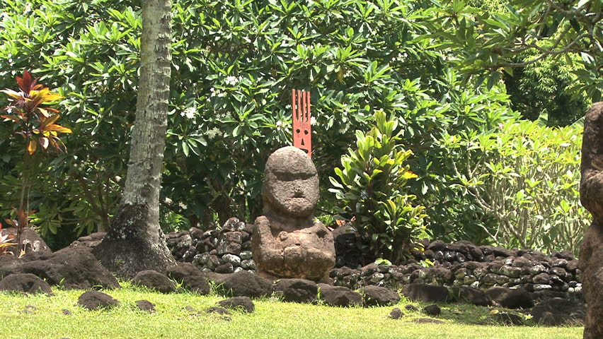 Tahiti sacred place zoom in statue - HD stock footage clip