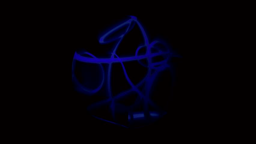 Rotating sphere made of blue ribbon
