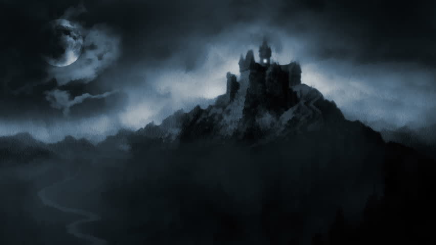 Scary dark castle. Animation showing painting of dark castle at midnight.