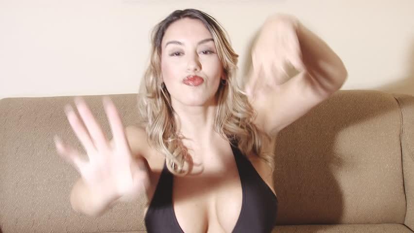 Sexy latina woman fast dancing in bikini - HD stock video clip