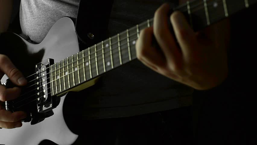Guitarist Playing  electric  Guitar on Stage - Close Up Strumming - HD stock video clip
