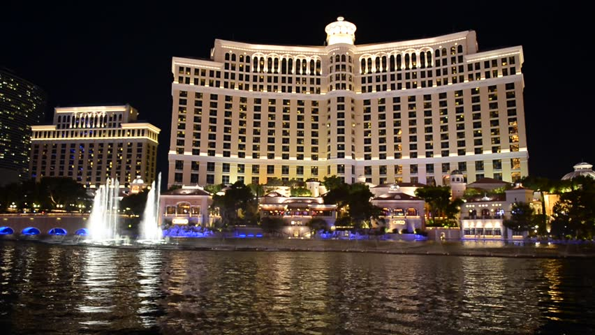 LAS VEGAS - OCT 01 : Bellagio hotel and the dancing fountains on October 01, 2013 in Las Vegas. Bellagio is a luxury hotel and casino located on the Las Vegas Strip. The Bellagio opened on 1998.