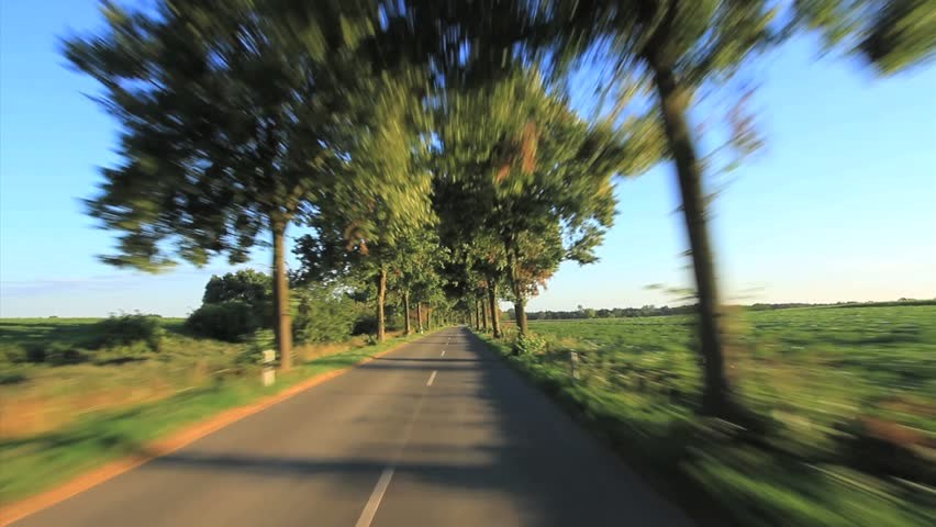 Driving - Driving shot with roof mounted camera on a road in Germany. pov - HD stock footage clip