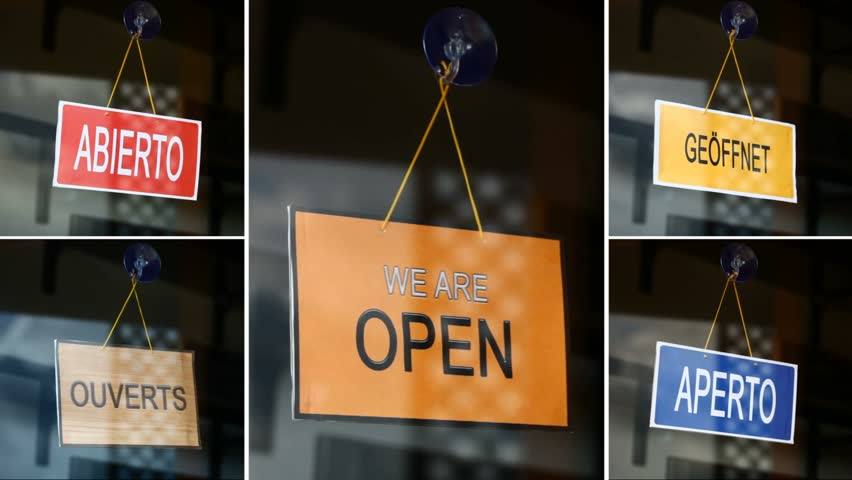 Open and closed signs (5 languages) - Closed to open. composition.