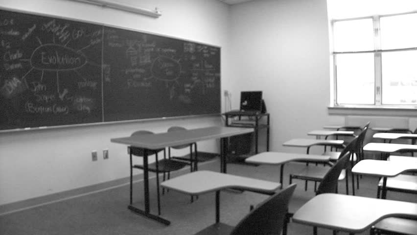 Modern White Classroom ~ Grainy video of classroom b w stock footage