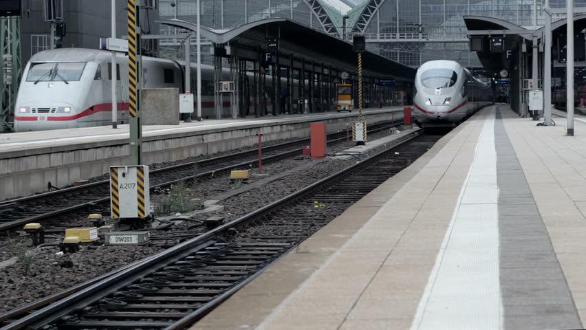 FRANKFURT, GERMANY - OCTOBER 12: A German highspeed ICE train is leaving main station Frankfurt on October 12, 2013