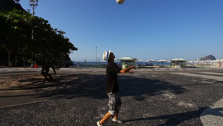 Rio de Janeiro, BRAZIL - 20 October 2013: Juggling with soccer ball