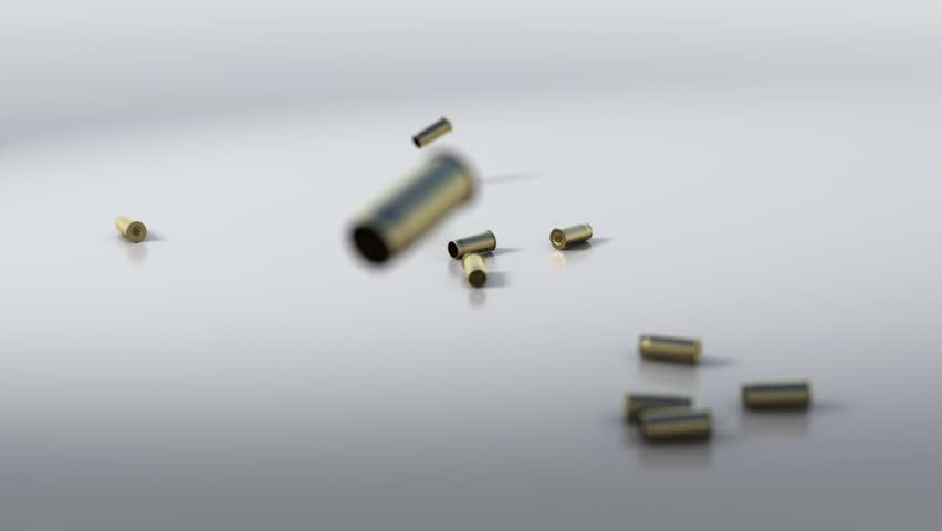 3d waterfall of bullet shells