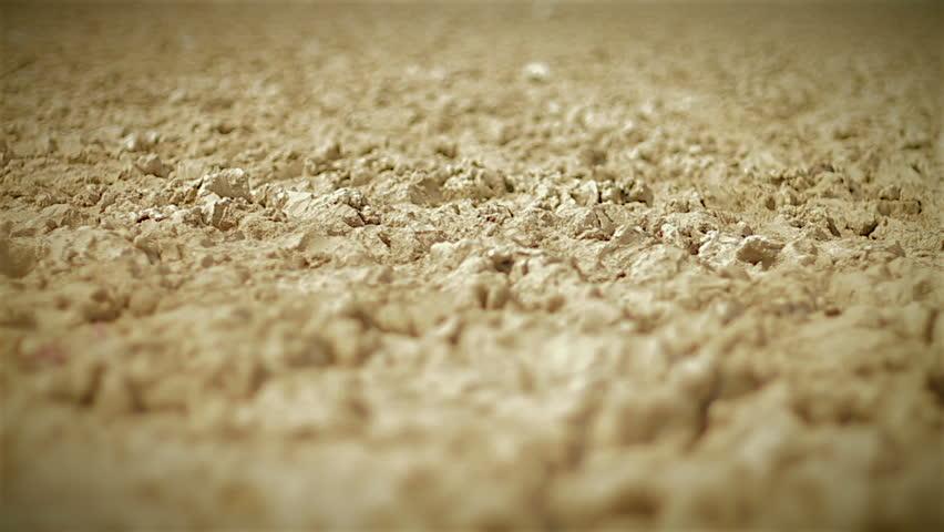 Close up dolly across dry cracked desert soil