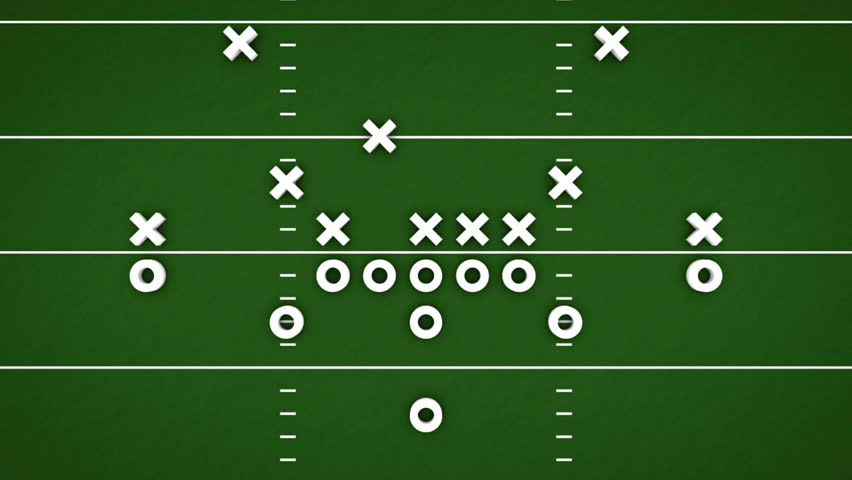 Football game strategy animation with Xs and Os