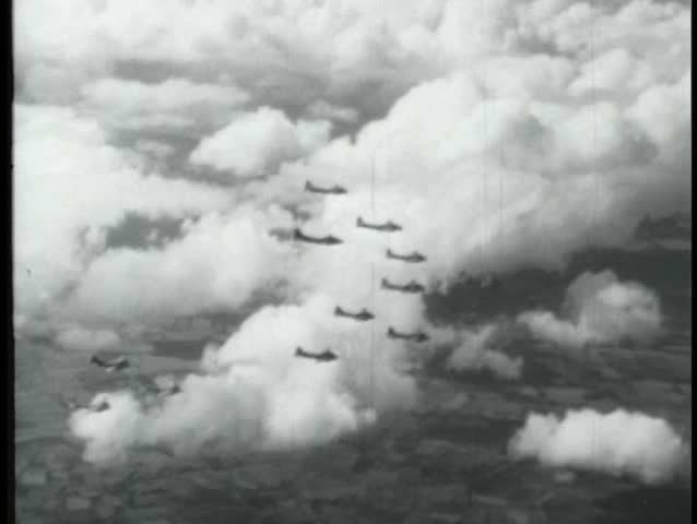 1940s - Air battles over Germany signal an end to World War II.
