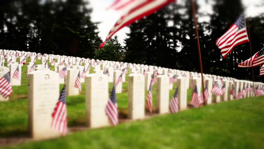 Tracking military cemetery, flowers and flags on tombstones - HD stock footage clip