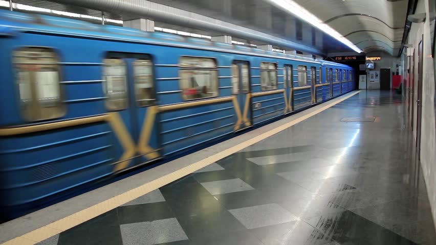 Metro station and blue train - HD stock video clip