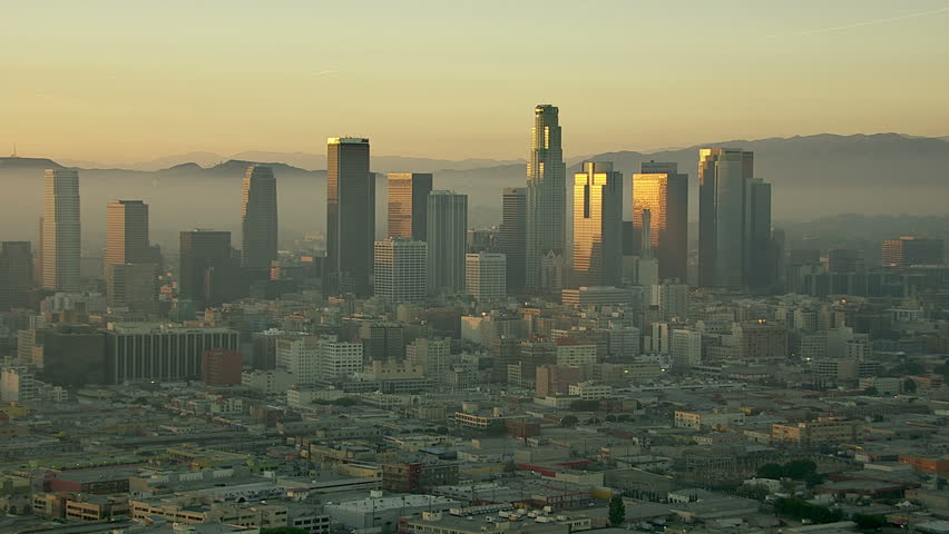 Los Angeles, California, USA - March 22, 2012: Aerial shot of the Hollywood sign and downtown Los Angeles