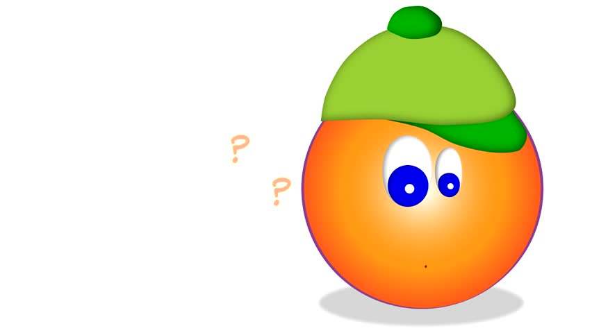 a orange smiley with green cap on head, question marks  - HD stock video clip