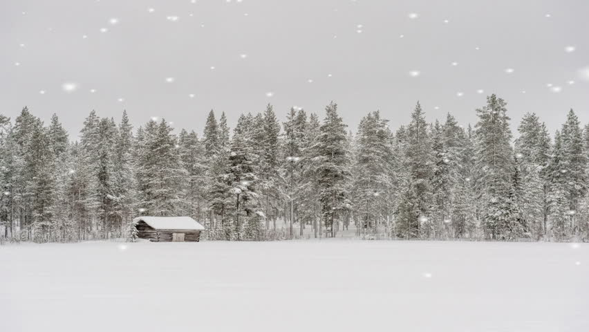 Wooden Log Cabins During A Winter Snowstorm Stock Footage