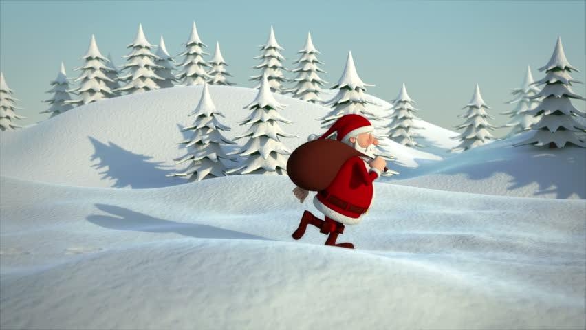 cartoon santa claus running through snowy landscape - high quality 3d animation