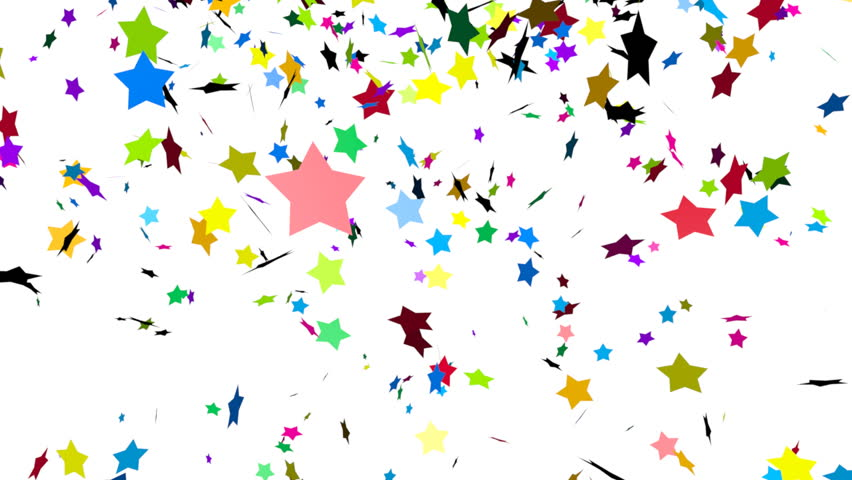 Animation of colorful stars falling - HD stock video clip