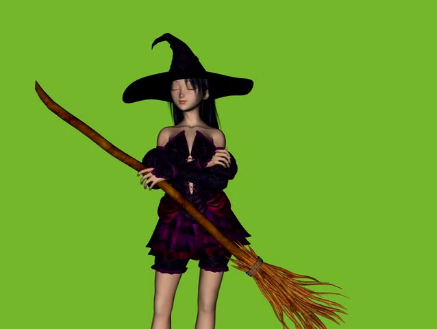Witch with Magic Broom waking up to the wind. Animation on green screen