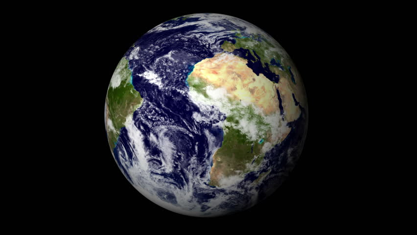 Animated one revolution of planet Earth with correct rotation direction and proper axial tilt; on black background. Elements of this footage furnished by NASA.