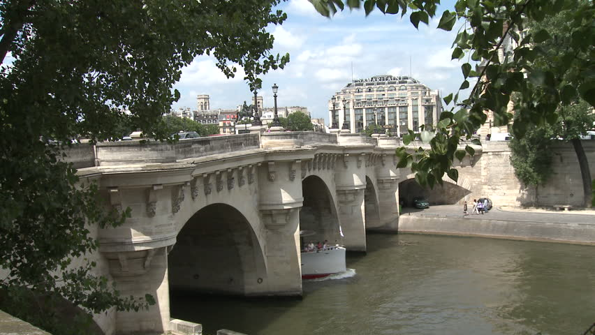PARIS, FRANCE - 2010: Bridge over the Seine river - HD stock video clip