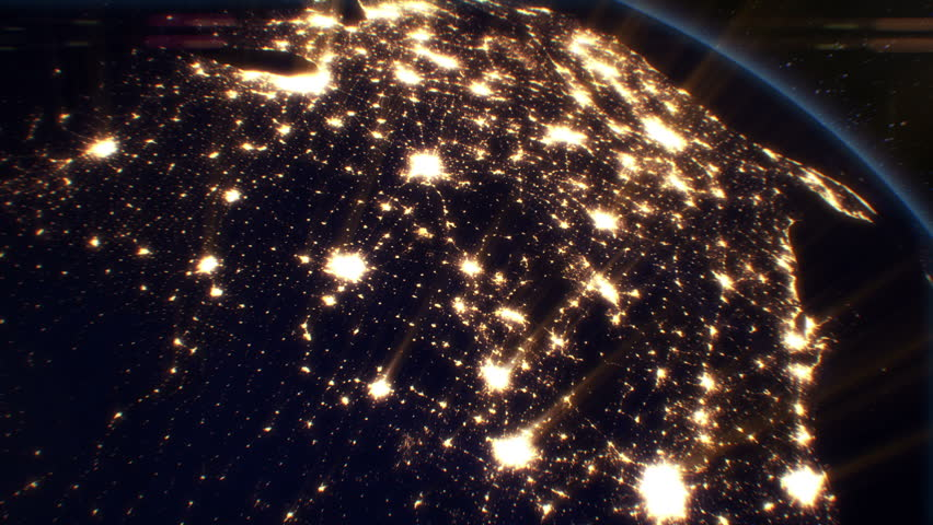 Night Cities from the Satellite. USA. NASA Photo. HD 1080.