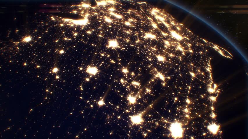 Night Cities from the Satellite. USA. NASA Photo. HD 1080.