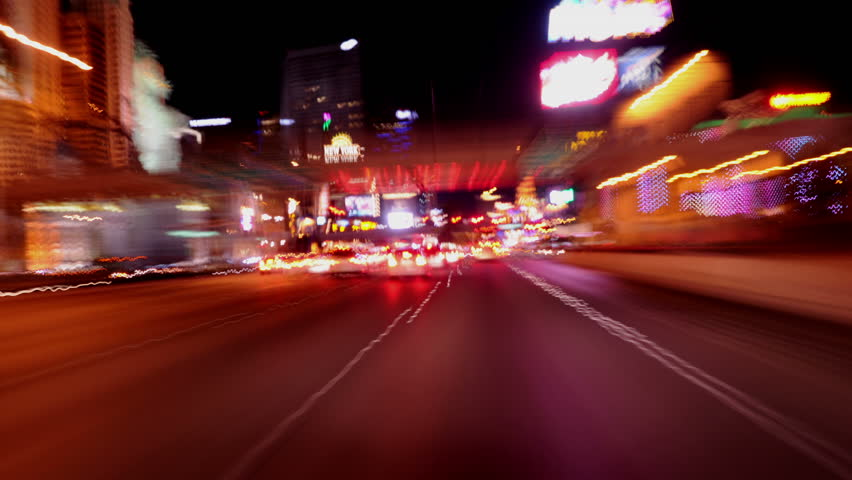 POV Time Lapse Driving of the Las Vegas Strip at Night Circa 2012 - 4K, UHD, Ultra HD Resolution