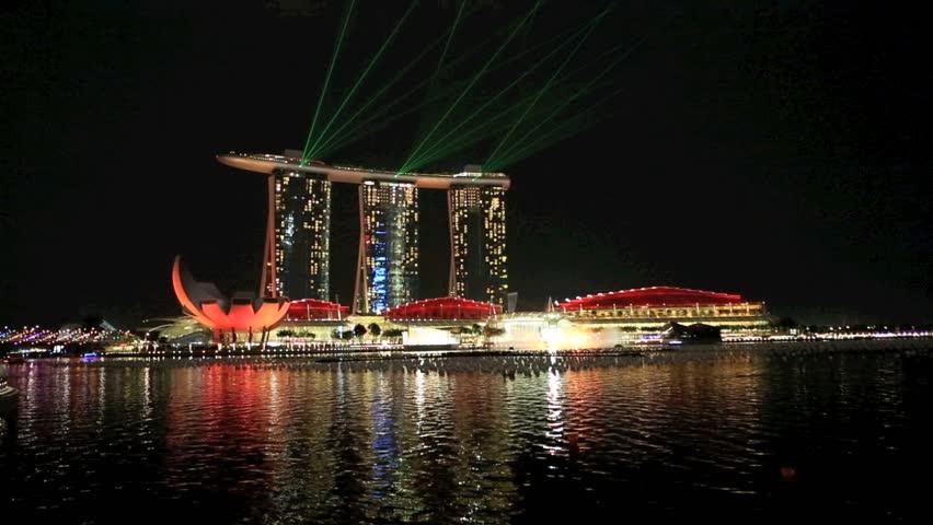MARINA BAY SINGAPORE DEC 17 Time Lapse Of Night Time Laser Light Show Ove