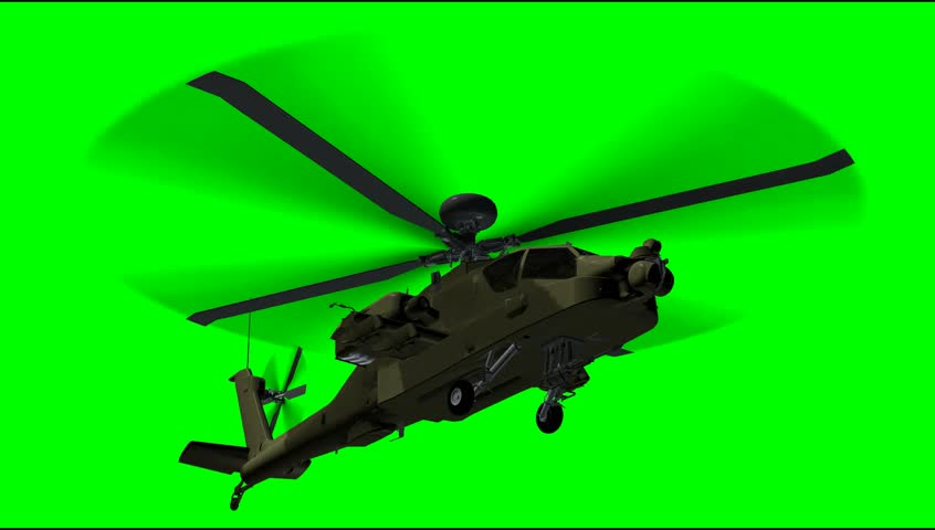 Helicopter Boeing AH-64 Apache fly animation green screen video Footage