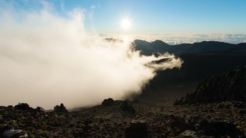 Mount Haleakala rolling clouds timelapse in Maui, Hawaii - HD stock video clip