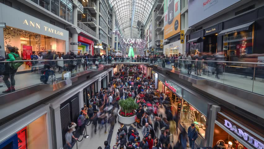 TORONTO - DECEMBER 26: Shoppers visit the mall in Toronto, Canada on the Boxing Day, December 26, 2013.