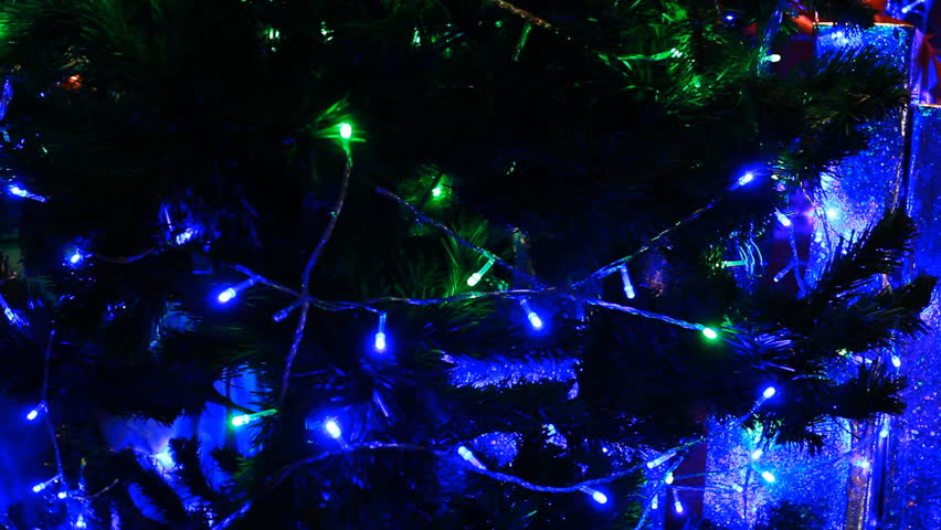 Christmas tree green with blue light moving