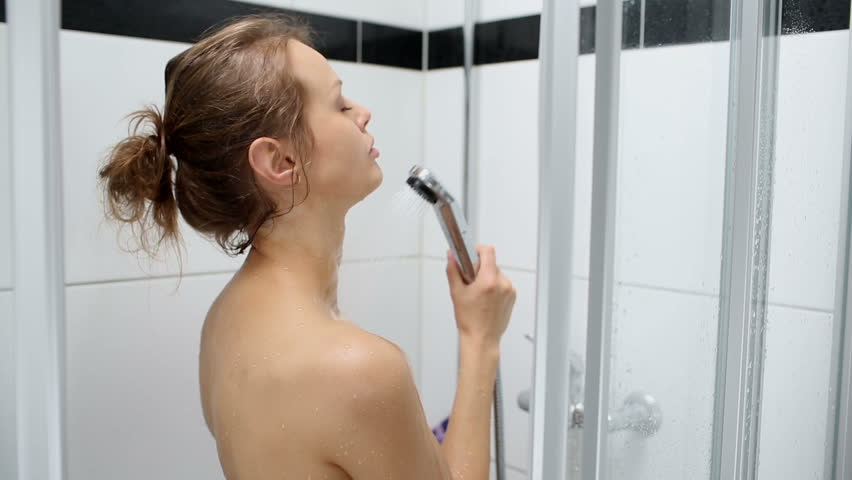 girl taking shower video
