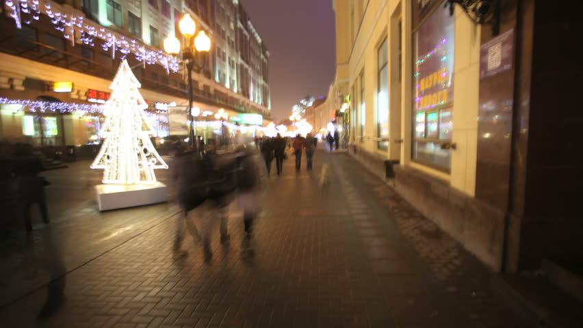 Crowded city street timelapse pov