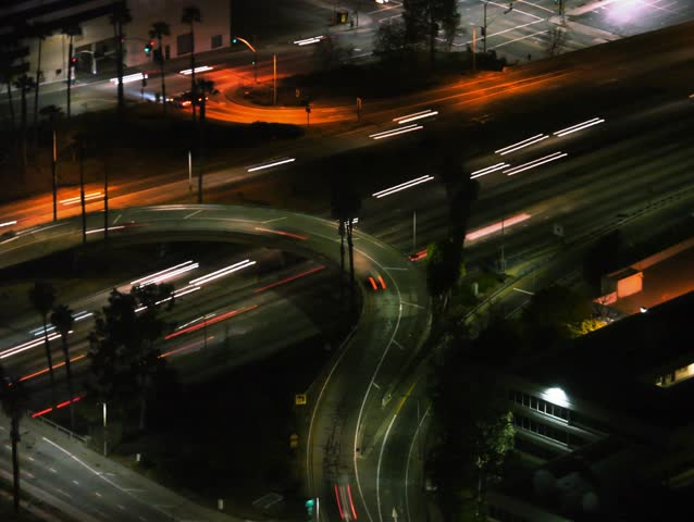 4K Night Cityscape Time Lapse of Freeway Traffic in Downtown Los Angeles