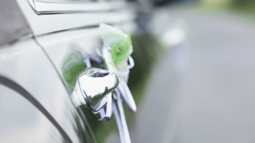 Man in a expensive suit opens the door decorated cars and closes it - HD stock footage clip