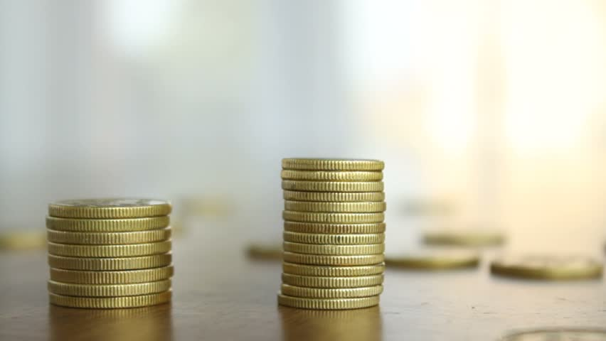 Making cheaper, discount, coins and finance, finger close-up