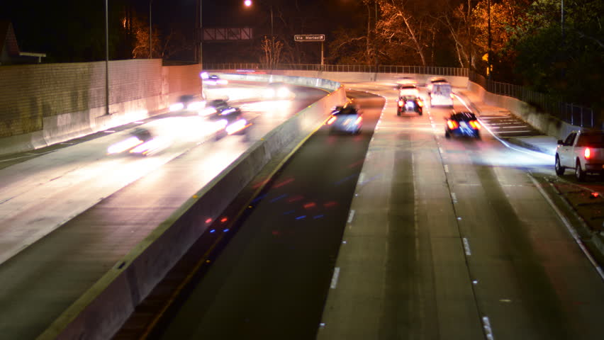 4K Time Lapse of Highway Traffic at Night -Zoom Out-