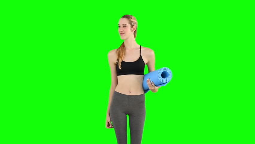 Slim Model Waving And Holding Exercise Mat On Green Screen ...