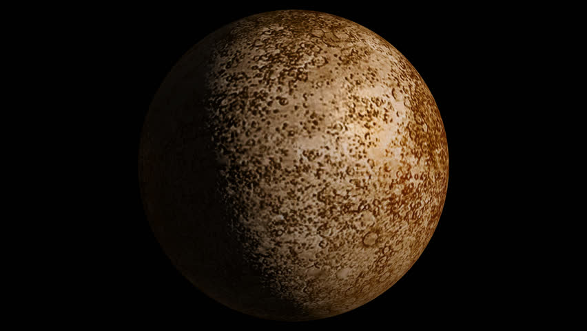 Planet Mercury Beautiful 3d animation of Mercury planet rotates with alpha channel in loop mode
