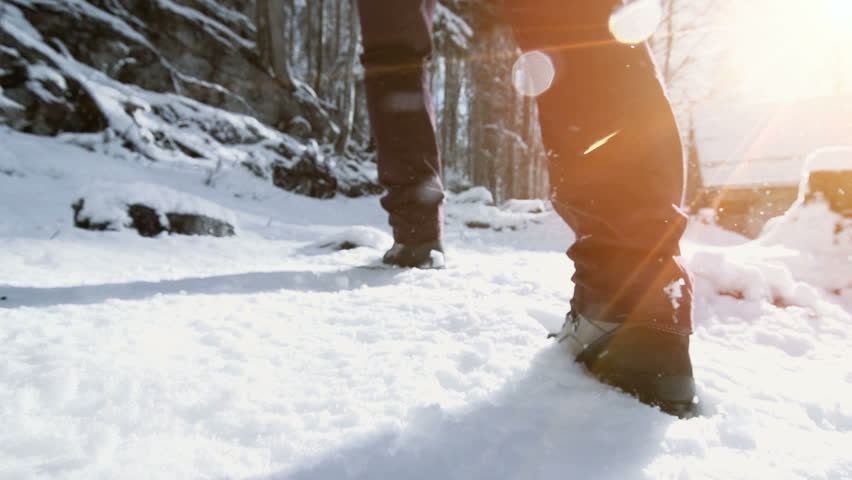 foot feet steeps. hiking walking. slow motion. snow winter landscape. recreation activity. holiday vacation tourism. people persons. outdoors sports