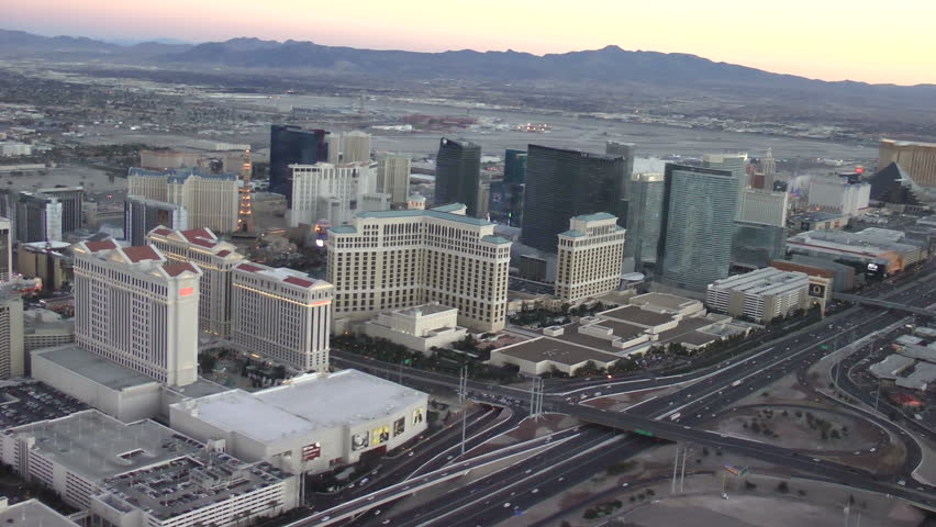 LAS VEGAS - CIRCA 2014: Vegas Strip aerial view on CIRCA 2014 in Las Vegas. The Las Vegas Strip is 4.2 mile stretch featured with world class hotels and casino.  - HD stock video clip