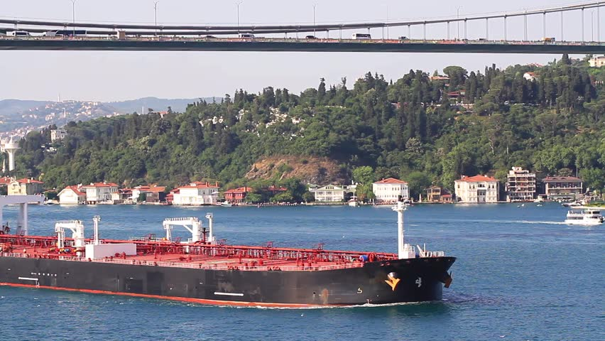 Crude oil tanker ship.  A 274 mt long, 48 mt width vessel, has a deadweight of 150,581 tons. Super tanker full of oil sailing along the Bosporus